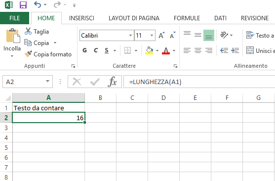 Contare i caratteri in Excel