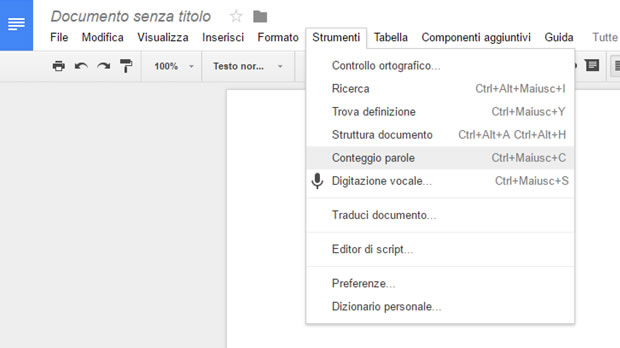 Contare i caratteri in Google Docs