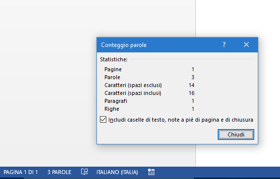 Contare i caratteri in Word